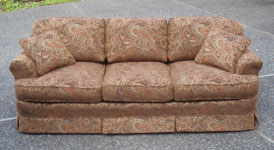 Overstuffed Reupholstered Couch With Pleated Skirt