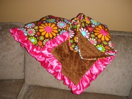 Pink & Brown Flower Minky Blanket