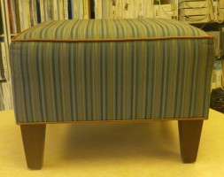 Green Striped Contemporary Ottoman