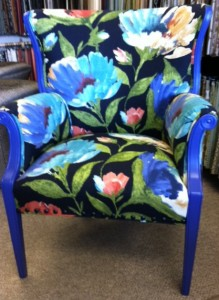 For Sale flower chair 219x300 For Sale: Funky Blue Floral Arm Chair