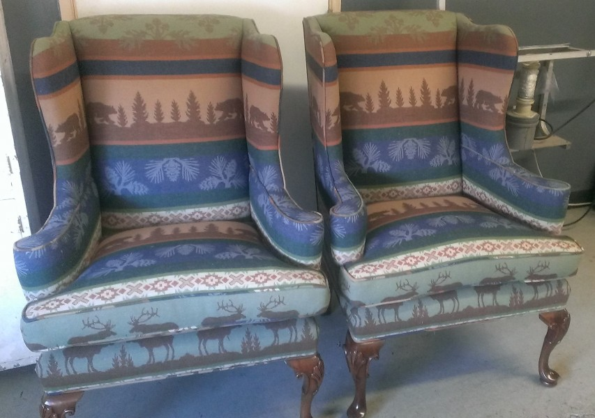 reupholstered cabin-themed wing chairs