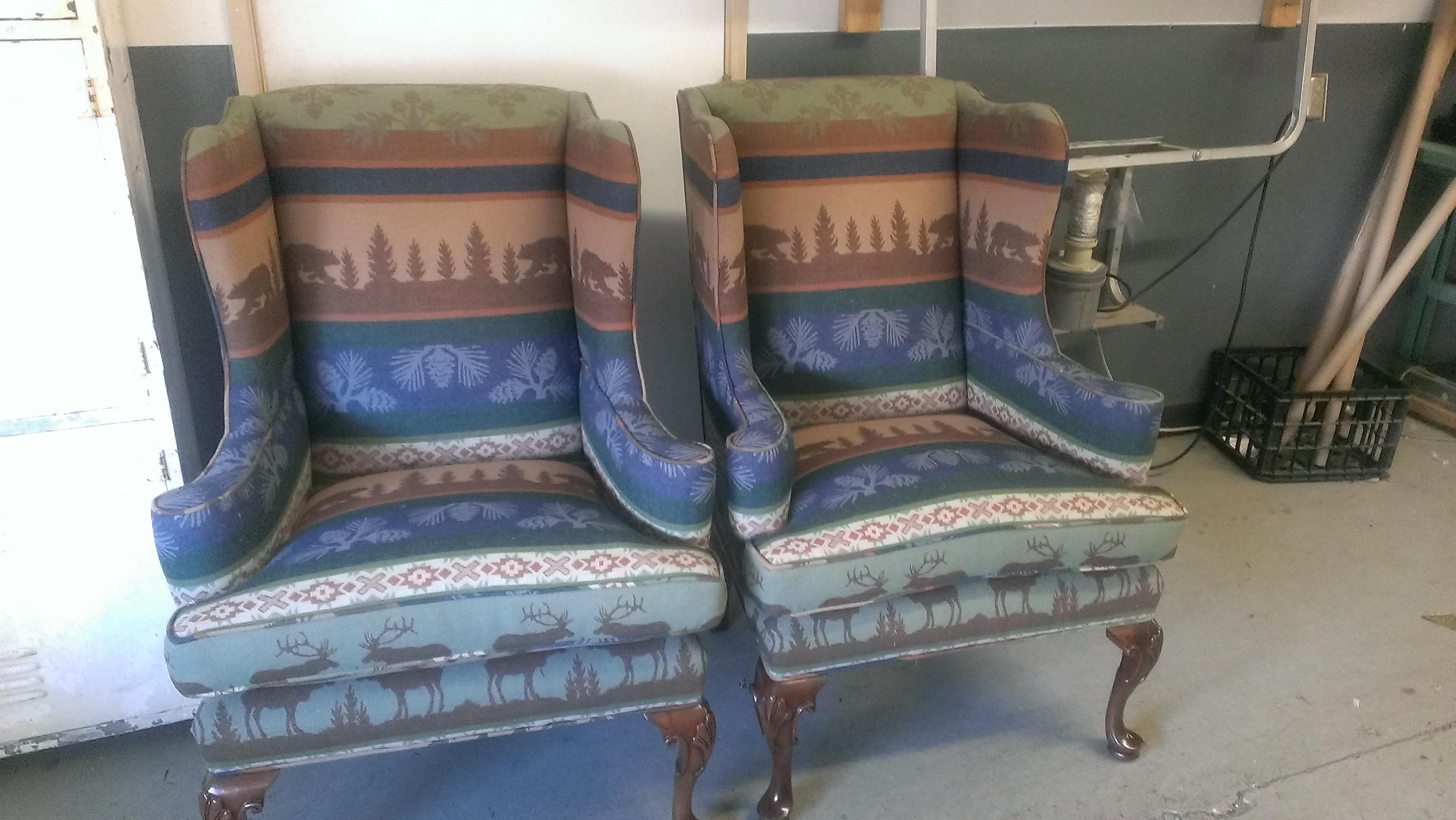 Reupholstered Cabin Themed Wing Chairs