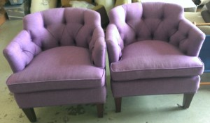 Purple Tufted Club Chairs